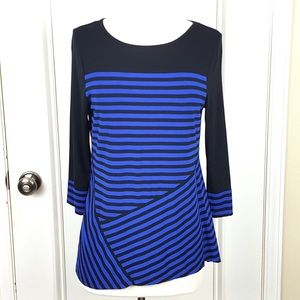Vince Camuto | Black Blue Striped Stretchy Top